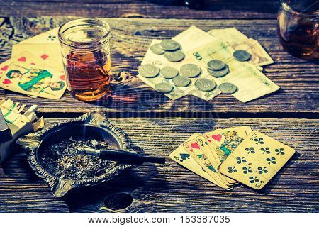 Vintage Table For Illegal Poker With Cards And Money