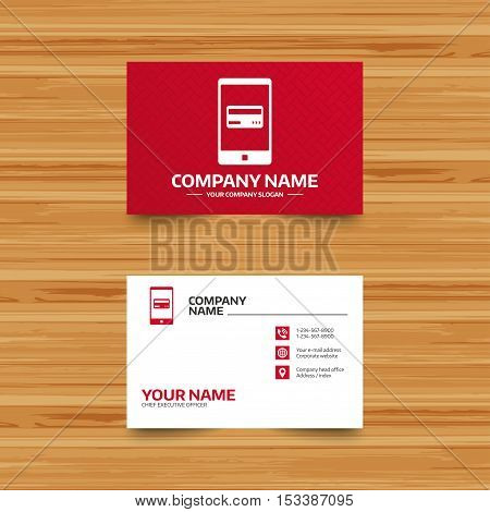 Business card template. Mobile payments icon. Smartphone with credit card symbol. Phone, globe and pointer icons. Visiting card design. Vector