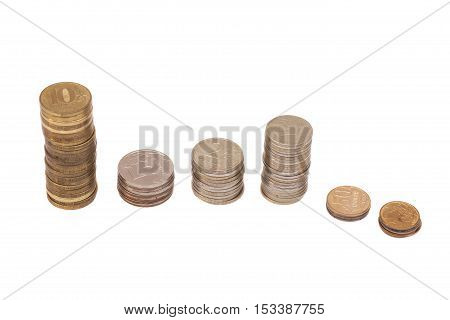 Stack of coins isolated on a white