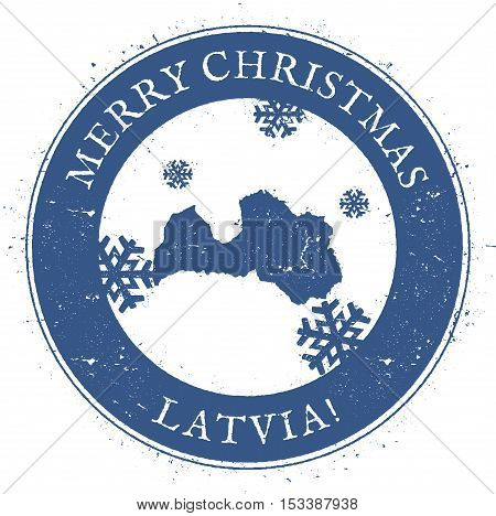 Latvia Map. Vintage Merry Christmas Latvia Stamp. Stylised Rubber Stamp With County Map And Merry Ch
