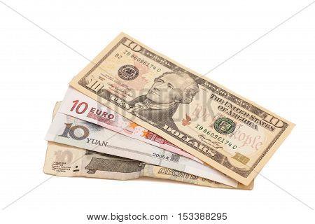 American dollars European euroChinese yuan and Russian Ruble bills