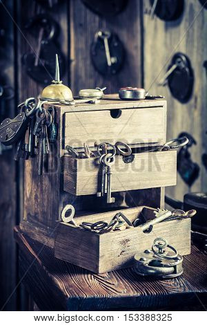 Closeup of vintage locksmiths workshop with ancient tools