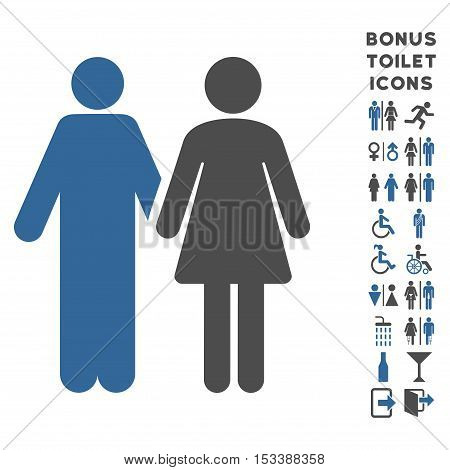 Married Couple icon and bonus man and lady toilet symbols. Vector illustration style is flat iconic bicolor symbols, cobalt and gray colors, white background.