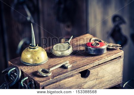 Closeup of old locksmiths workshop with ancient tools