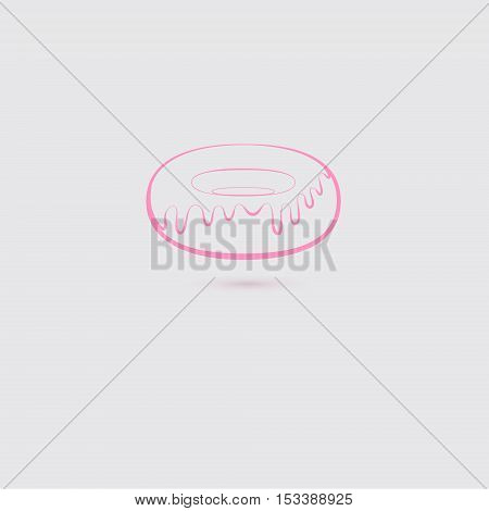 Pink Donut Icon Made in Contour. Symbol of Favourite American Sweet Food. Vector EPS 10