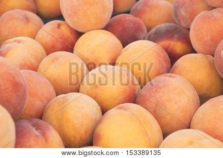 View close-up of fresh peaches. Juicy peaches. A lot of peaches. Heap of peaches. Summer tray market agriculture farm full organic peaches. Fruit peaches background (selective focus)
