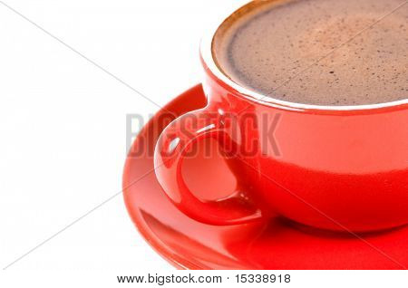 Red cup of coffe isolated on white. With space for text