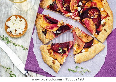 sweet potato beets galette with goat cheese and thyme