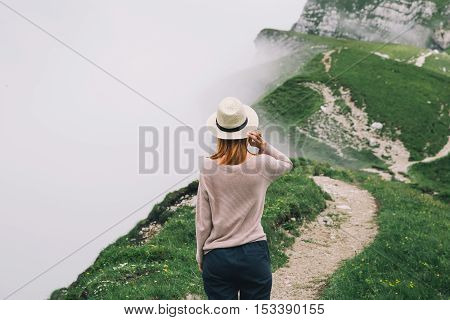 Traveler Or Hiker In The Mountains In The National Park Triglav.