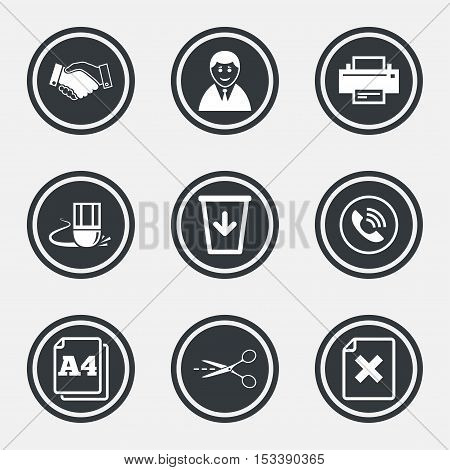 Office, documents and business icons. Printer, handshake and phone signs. Boss, recycle bin and eraser symbols. Circle flat buttons with icons and border. Vector
