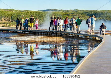 Tourists At Grand Prismatic Spring