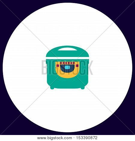 electric pan Simple vector button. Illustration symbol. Color flat icon
