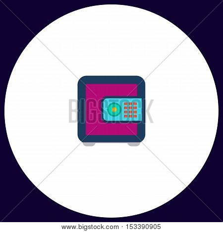 strongbox Simple vector button. Illustration symbol. Color flat icon