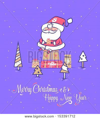 Set of Funny santa illustrations. Santa Claus sitting on gifts and waiting for children. Christmas greeting card background poster. Vector illustration. Merry christmas and Happy new year.