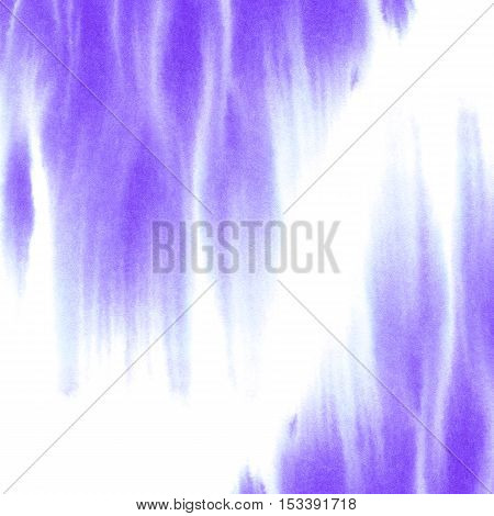 Abstract violet spreading watery frame.Aquatic backdrop.Ink drawing.Watercolor hand drawn image.Wet splash.White background.
