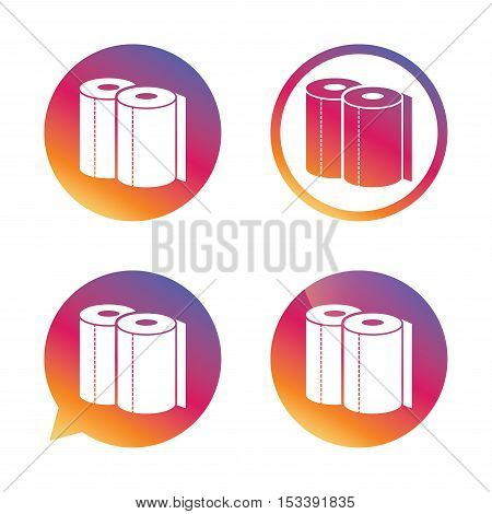 Paper towels sign icon. Kitchen roll symbol. Gradient buttons with flat icon. Speech bubble sign. Vector