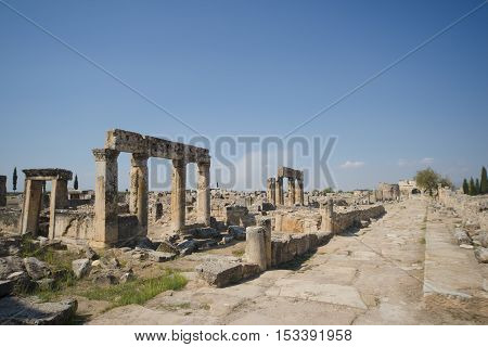 Hierapolis City Ruins. The ruins of the ancient city of Hierapolis is located adjacent to the hot springs of Pamukkale in Turkey. The site is a UNESCO world heritage site.