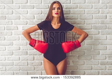 Girl In Boxing Gloves