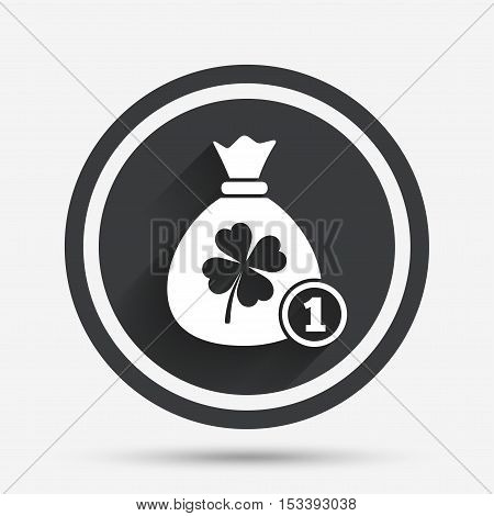 Money bag with Clover and coin sign icon. Saint Patrick symbol. Circle flat button with shadow and border. Vector