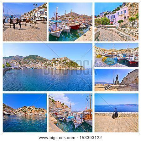photo collage of Hydra island Saronic Gulf Greece