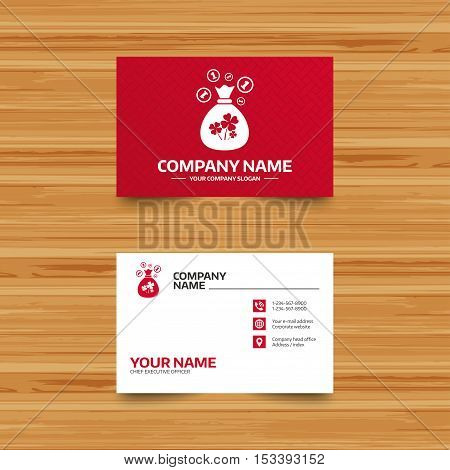 Business card template. Money bag with Clovers and coins sign icon. Saint Patrick symbol. Phone, globe and pointer icons. Visiting card design. Vector