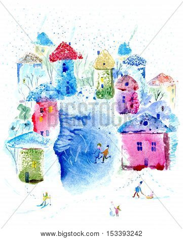 Postcard with snowy village and lake.Winter leisure card.Colorful houses.Watercolor hand drawn illustration.