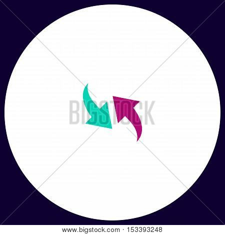 Recycle Simple vector button. Illustration symbol. Color flat icon