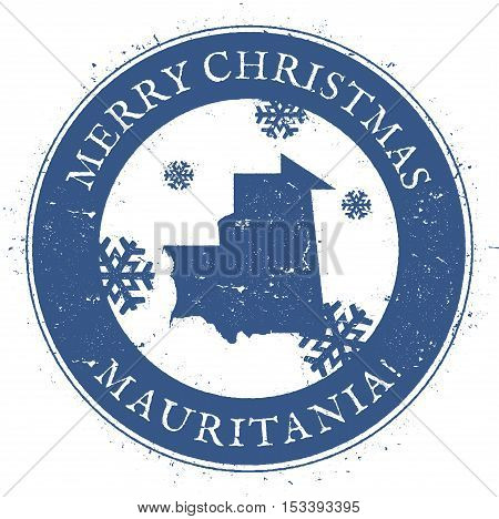 Mauritania Map. Vintage Merry Christmas Mauritania Stamp. Stylised Rubber Stamp With County Map And
