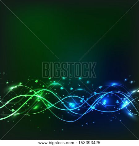 Abstract waves background. Image in green and blue colors.