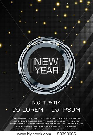 New Year Party Flyer Poster, Vector Design A4