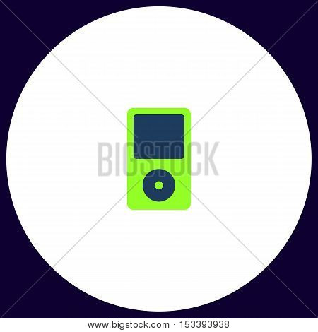 Media player Simple vector button. Illustration symbol. Color flat icon