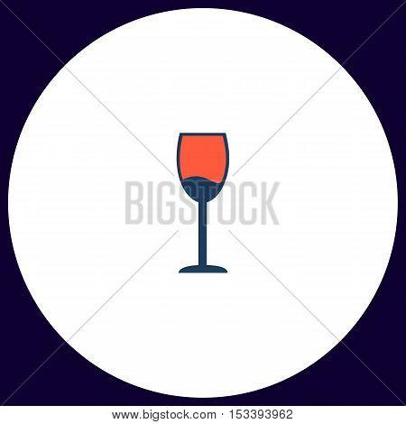 wineglass Simple vector button. Illustration symbol. Color flat icon