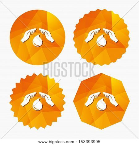 Save water sign icon. Hands protect cover water drop symbol. Environmental protection. Triangular low poly buttons with flat icon. Vector