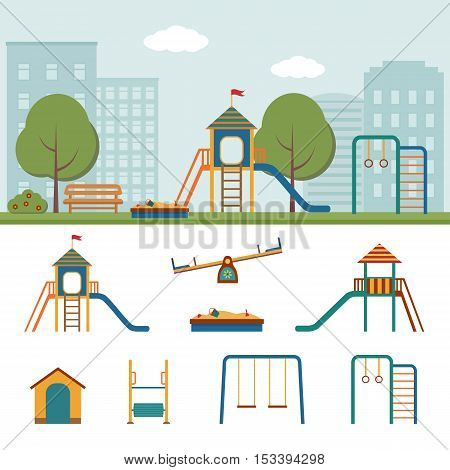 Kids playground in the City. Slide, swings, sandbox and other elements. Vector illustration.