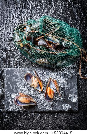Fresh mussels on black rock on old wooden table