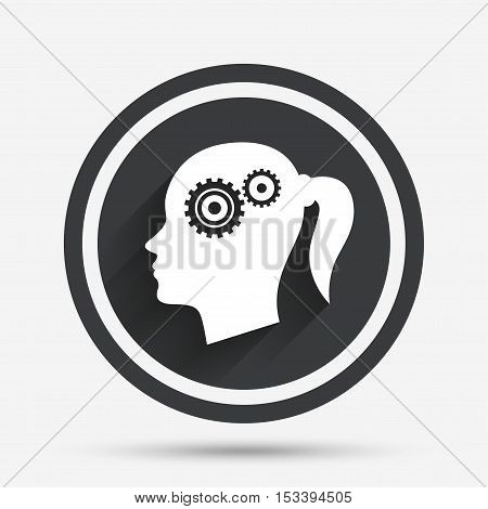 Head with gears sign icon. Female woman human head think symbol. Circle flat button with shadow and border. Vector