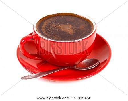 Red cup of coffe isolated on white