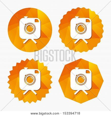 Hipster photo camera sign icon. Retro camera on tripod symbol. Triangular low poly buttons with flat icon. Vector