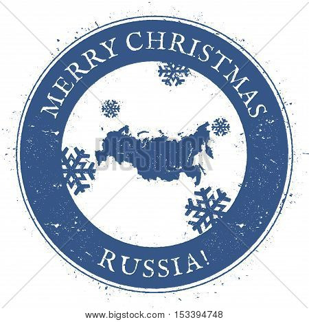 Russian Federation Map. Vintage Merry Christmas Russian Federation Stamp. Stylised Rubber Stamp With