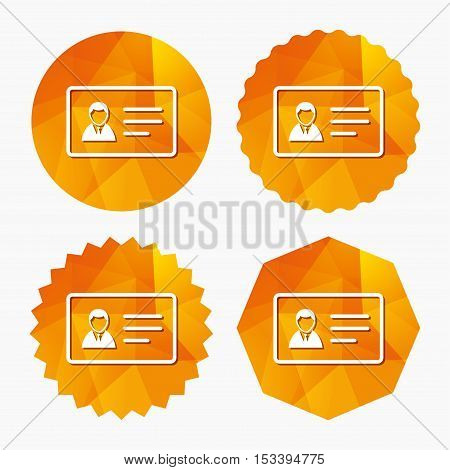 ID card sign icon. Identity card badge symbol. Triangular low poly buttons with flat icon. Vector