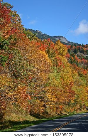 colorful autumn foliage covers the mountainside along the Blue Ridge Parkway in North Carolina