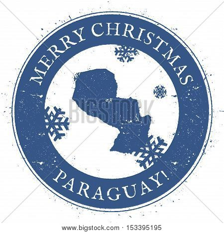 Paraguay Map. Vintage Merry Christmas Paraguay Stamp. Stylised Rubber Stamp With County Map And Merr