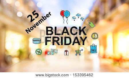 Black Firday November 25 Text On Blurred Shopping Mall Background
