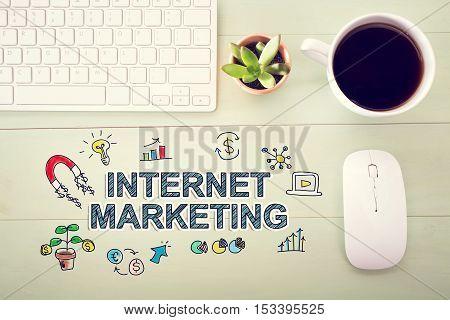 Internet Marketing Concept With Workstation