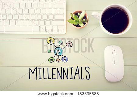 Millennials Concept With Workstation