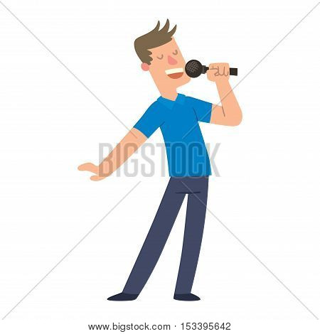 Cheerful corporate party singing people with microphone. Karaoke, songs dancing singing people cheerful expression. Happy friends singing karaoke at party singing people music fun concert vector.