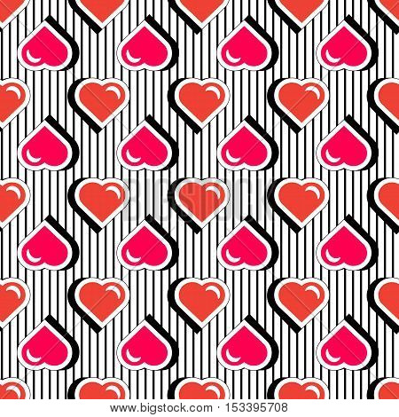 Pop art stile repeating texture with red hearts. Seamless pattern with colorful badge shape hearts on black striped background. Vector illustration with heart stickers in cartoon 80s-90s comic style.