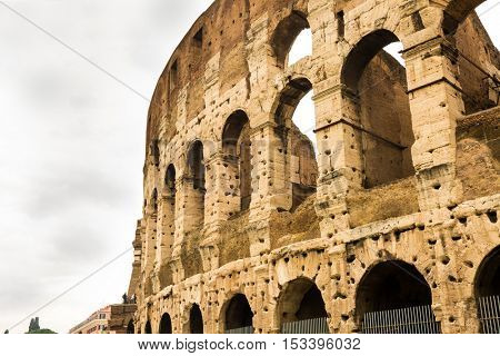 Exterior of the Colosseum, also known as the Flavian Amphitheatre in Rome, Italy