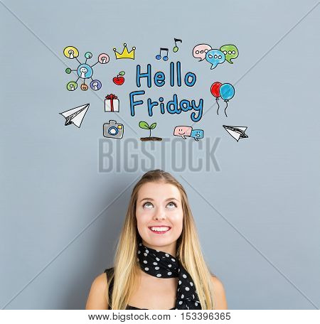 Hello Friday Concept With Happy Young Woman