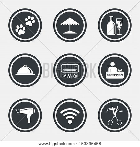 Hotel, apartment services icons. Wifi internet sign. Pets allowed, alcohol and air conditioning symbols. Circle flat buttons with icons and border. Vector